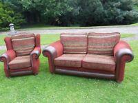 A Rich Wine/Burgundy 3+1 Seater Sofa