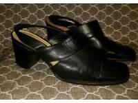 Black leather BHS slingback shoes size 8