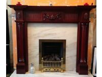Gas fire, surround & marble back & hearth