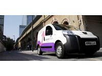 Starting Bonus Scheme – Small Van Courier Deliveries in our Purple Pink and White van