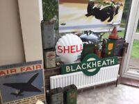 Shell glass vintage petrol pump head
