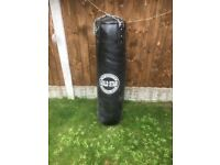Leather punchbag and bracket excellent condition