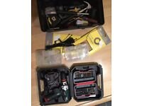 Electric screwdriver + nut drivers + tools and toolbox £20