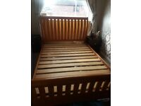 King size bed frame. Few scratches. Solid bed. Buyer to collect