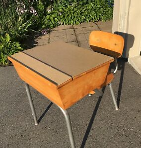 Authentic School Desk & Chair - $30