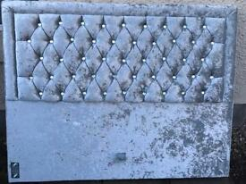 Double Bed Headboard with Velvet Material and Stones