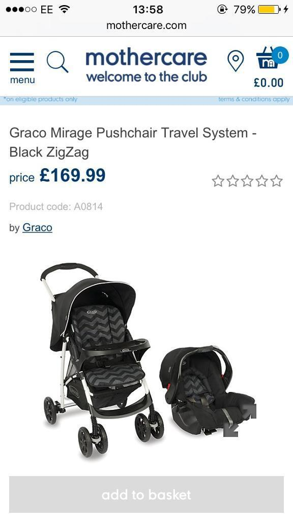 Graco mirage pushchair travel system - black zigzag