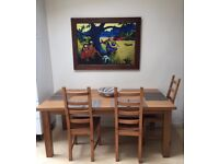 Kitchen/Dining Table with 6 Chairs. Solid Pine.