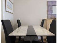 Beautiful Italian Marble Dining Table + 4 Chair Set