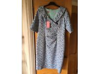 Coco Doll Julie Embroidered Shift Dress, Blue size 16