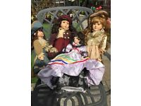 Porcelain Dolls, large collection of adult dolls