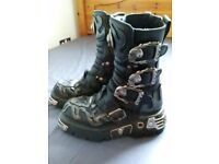 New Rock Boots, excellent condition - black with silver details - size 4