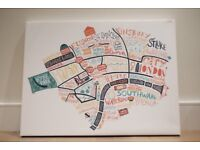 Medium white canvas with London map image (can be easily painted over)