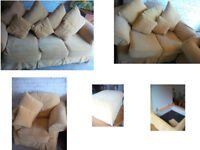 BEAUTIFUL PLUSH SAND COLOURED 3 SEATER SOFA WHICH IS A SOFA BED 2 SEATER CHAIR AND STORAGE POUFFEE