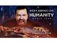 Ricky Gervais - The Humanity Tour - 11 Oct 17 - London x4 Stalls Seated £260 ONO