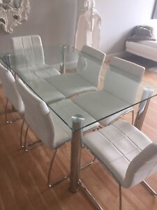 Glass Dining Table w/ set of 6 White Leather Chairs