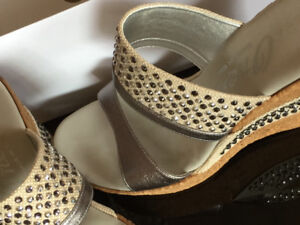 Pewter sandals by Onex