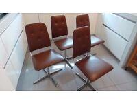 Vintage Retro Mid Century Chrome SWIVEL Dining Chairs - Set of 4