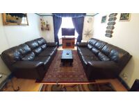 Back leather 3 seater sofas two sets