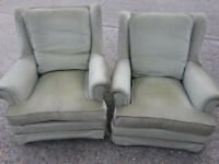 Pair of soft-green velour winged armchairs