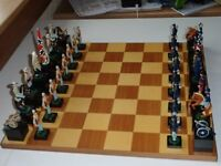65mm hand painted AMERICAN CIVIL WAR chess set with board