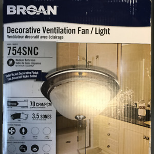 BROAN Decorative Bathroom Fan with Light