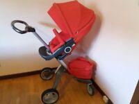 Red stokke exlory v3 pram/pushchair