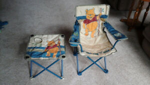 Winnie the Pooh childs folding bag chair and matching table
