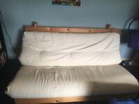 Futon sofa bed cream