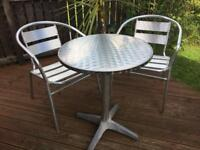 Metal bistro patio garden set, table and chairs