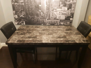 Granite Style Top Dining Table And 3 Leather Chairs