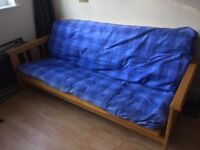 Double Futon Sofa Bed with large comfy heavy blue mattress