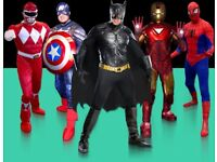 Man SUPER HERO PARTY SPIDERMAN BATMAN North South East West LONDON MASCOT HIRE Childrens Ideas Theme