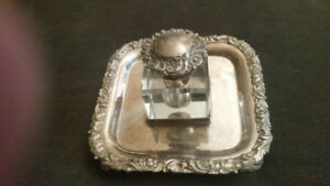 Ellis Bros. Silver Plated Tray and Ornate Crystal Inkwell