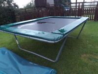 Large square trampoline, good condition that takes apart to transport,