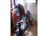 rocking horse 50 incs to head high real mane and tail leather saddle