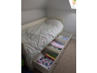 White IKEA Hemnes day bed - sofa/ double bed with three drawers