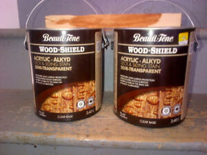 Two, 3.4 litre cans of Beauti-Tone Wood Shield Deck Stain
