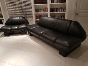 2 - Leather Black Couch /  futons