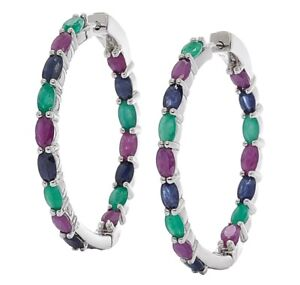Genuine Sterling Silver Multi-Gemstone Hoop Earrings
