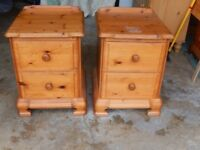 2 solid honey pine bedside drawers