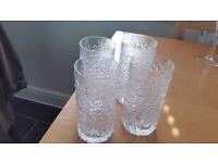 Whitefriars Glacier Everest Highball 4 tall tumbler glasses, bark effect