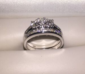 14K White Gold engagement ring and band melted into one ring