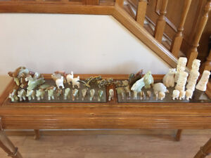 A variety of hand carved items, handicrafts marble, brass, and r