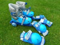 Tri Line inline skates with knee and wrist pads.