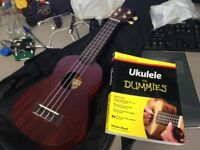 Excellent condition Makala Soprano Ukulele - MK-S with case and book