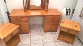 6 Drawer Dressing Table, Triple Mirror,2xside cabinets, Double Headboard