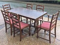 Ercol style dining table & 6 chairs