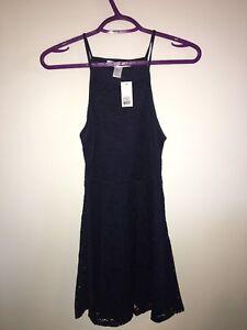 Blue Halter Lace Dress