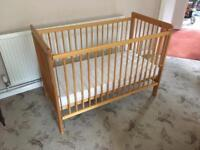 Wooden cot (frame and new unused mattress)